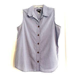 Patagonia sleeveless gingham shirt, blue & white